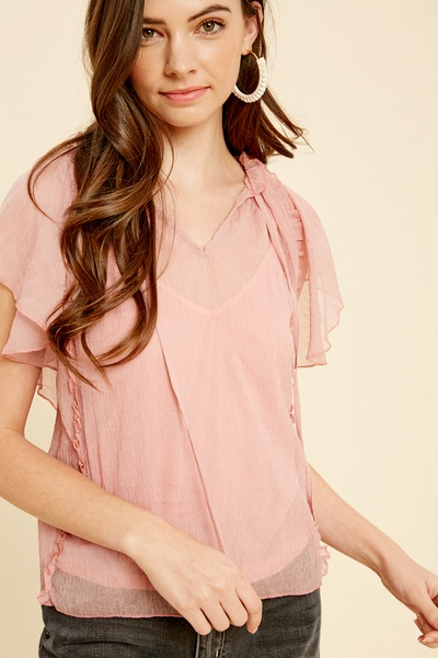 CRINKLE CHIFFON FRILL TOP WITH ATTCHED CAMI