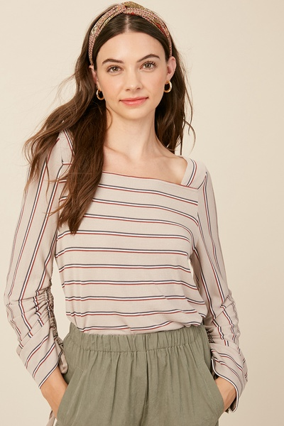 STRIPE RIBBED SQUARE NECK RUCHED SLEEVES KNIT TOP