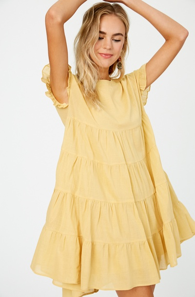 LINEN TEXTURED COTTON TIERED DRESS WITH RUFFLE