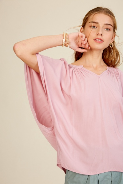 BUTTERFLY SLEEVE WOVEN TOP