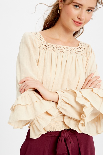 TEXTURED SQUARE NECK TIERED RUFFLE SLEEVES TOP