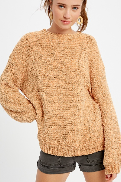 RIBBED TEXTURED KNITTING CHENILE PULLOVER SWEATER