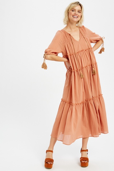 TEXTURED FRONT KEYHOLE TIERED RUFFLE MAXI DRESS