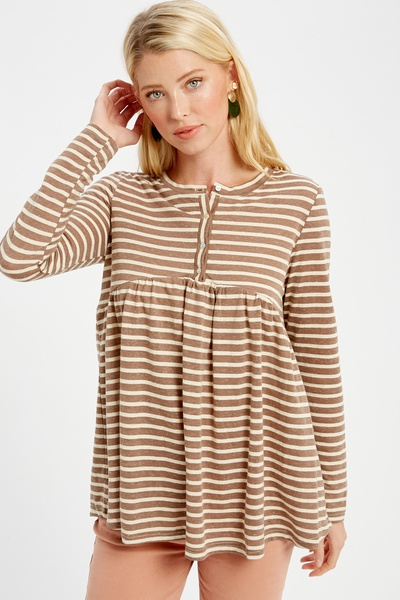 KNIT STRIPED AND PLEATED BABYDOLL HANLEY TUNIC TOP