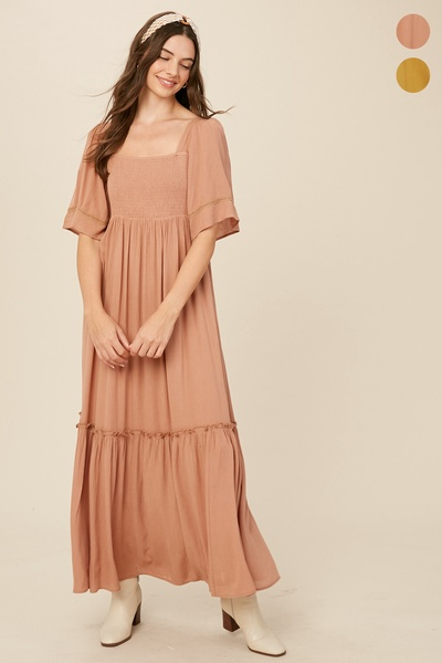 CRINKLE RAYON SQUARE NECK SMOCKING MAXI DRESS