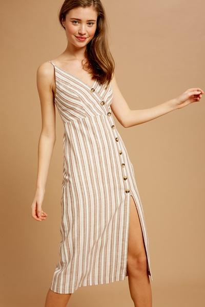 MULTI STRIPE V-NECK SLEEVELESS DRESS WITH SLIT