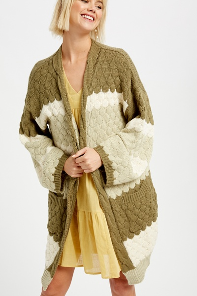 GRADATION COLOR BLOCK CABLE KNIT OPEN CARDIGAN