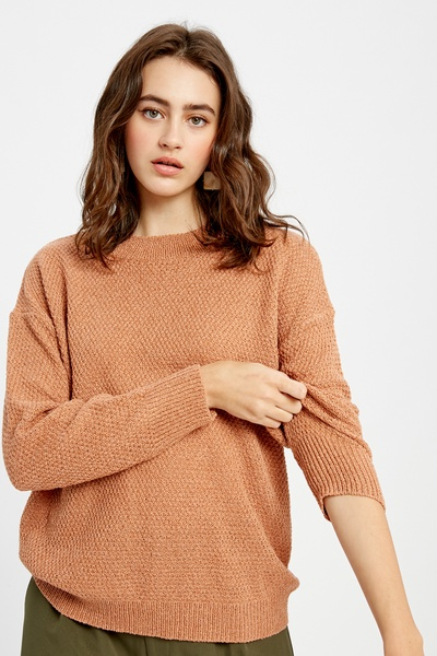 LIGHT WEIGHT TEXTURED SOLID PULLOVER KNIT SWEATER