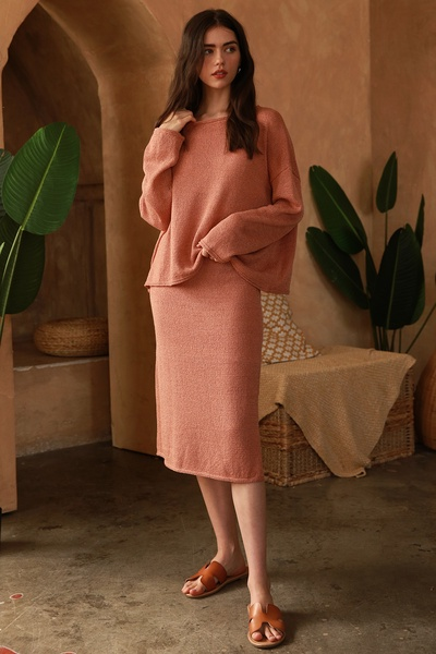 BOATNECK TOP AND SIDE SLITS MIDI SKIRT SWEATER SET