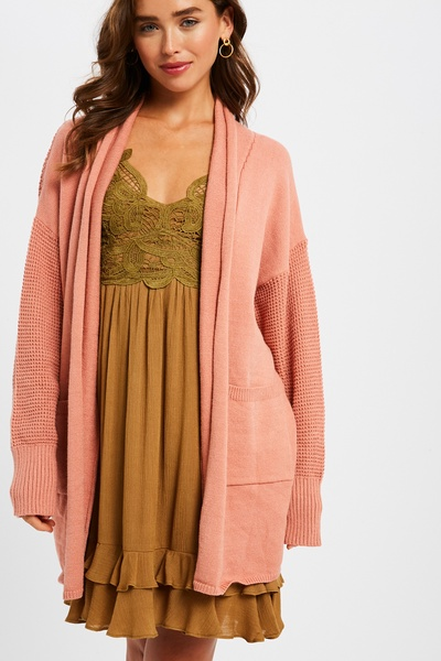 TWO TONE SOFT TOUCH WAFFLE BACK OPEN CARDIGAN