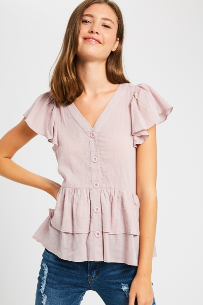 TEXTURED V-NECK BUTTON DOWN RUFFLE SLEEVE TOP