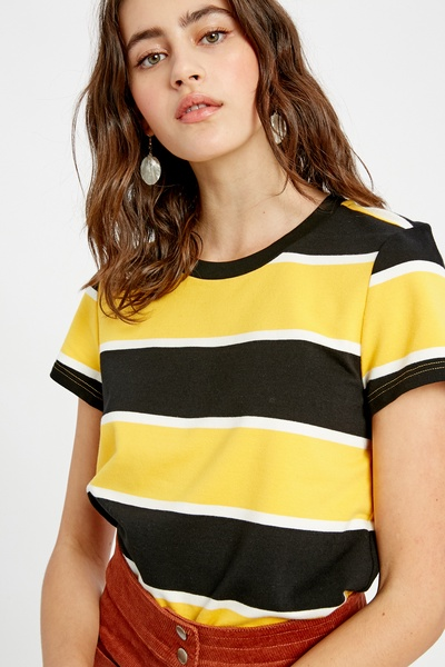 MULTI COLOR WIDE STRIPED SHORT SLEEVE T-SHIRT