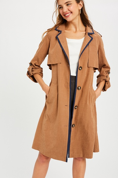 TEXTURED TIE WAIST LONG LAYERED TRENCH COAT