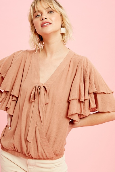 CRINKLE TEXTURED WRAP TOP WITH RUFFLE SLEEVES
