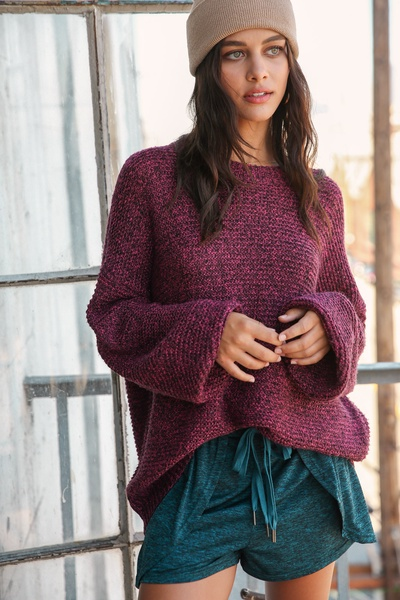 TWO TONE ROUND NECK PULLOVER KNIT SWEATER