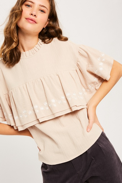 EMBROIDERY DOUBLE LAYER RUFFLE MADARIN TOP