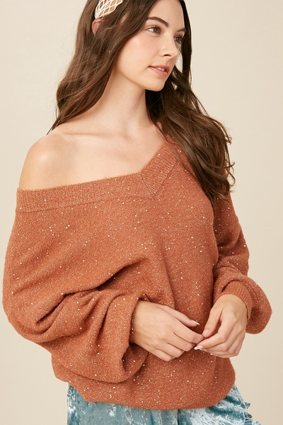 SOFT TOUCH V-NECK SEQUIN LOOSE FIT KNIT SWEATER