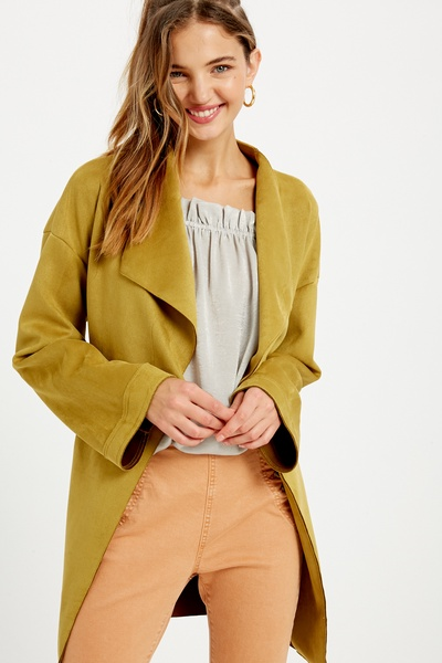 STRETCHED VEGAN SUEDE WIDE LAPEL JACKETS