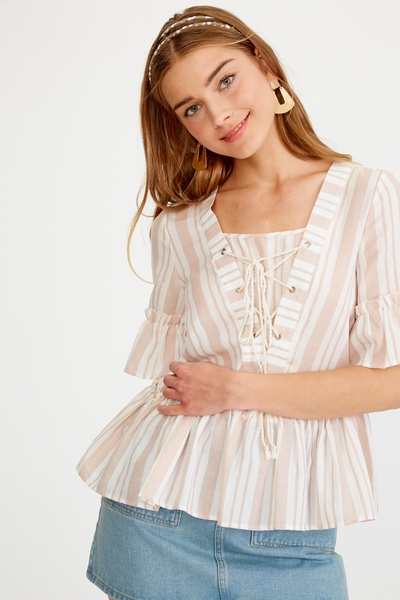 STRIPED RUFFLED LACE UP WOVEN TOP