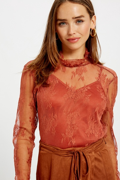 FLORAL MESH LACE RUFFLE NECK TOP WITH CAMI LINING