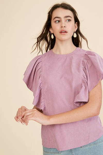 TEXTURED RUFFLE SLEEVES WOVEN TOP