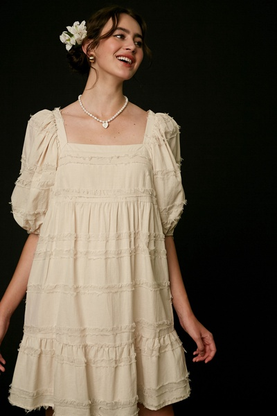 TEXTURED SQUARE NECK PUFF SLEEVE BABYDOLL DRESS