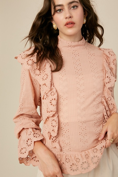 EMBROIDERY COTTON EYELET RUFFLE TOP