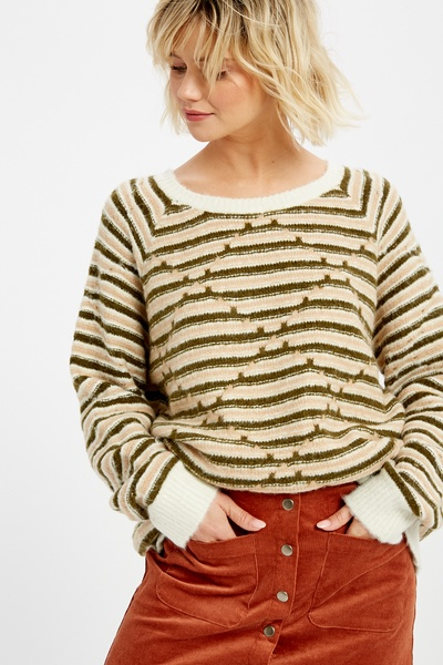 MULTI STRIPE ROUND NECK PULLOVER KNIT SWEATER