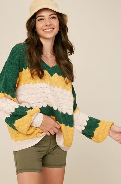 MULTI COLOR V-NECK EMBOSSING PULLOVER KNIT SWEATER