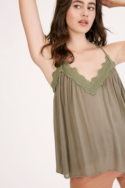 CRINKLE RAYON RACERBACK CAMISOLE WITH LACE