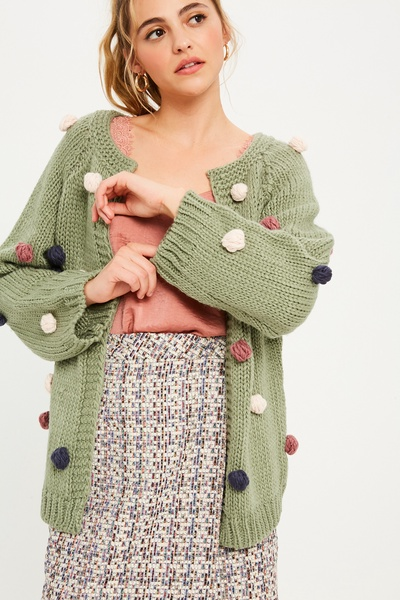HANDMADE OPEN CARDIGAN WITH MULTI COLOR POMPOM