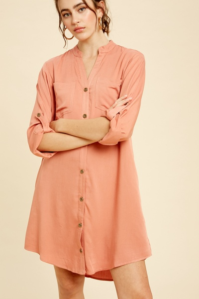 TEXTURED RAYON BUTTON DOWN SHIRTS DRESS