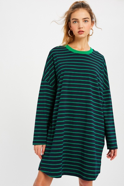 STRIPE OVER FIT T-SHIRT DRESS WITH POCKETS