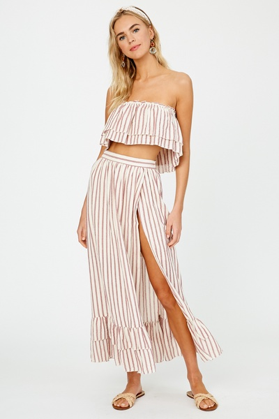 STRIPED WOVEN LAYERED TOP AND SKIRT SET