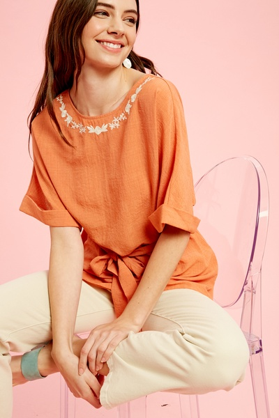 EMBRLOIDERY NECK DOLMAN SLEEVES TOP WITH TIE WAIST