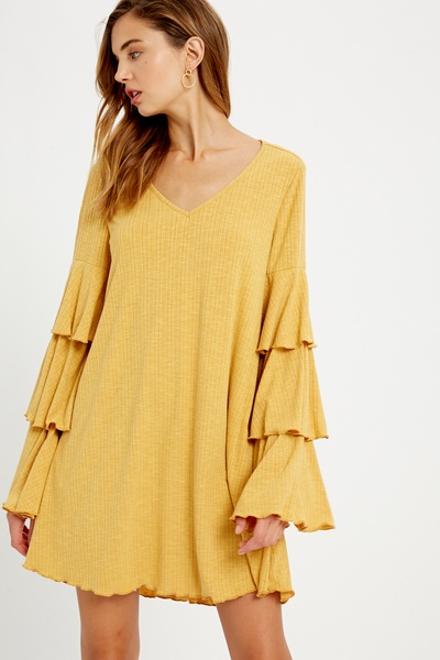 RIBBED V-NECK TIERED SLEEVES DRESS