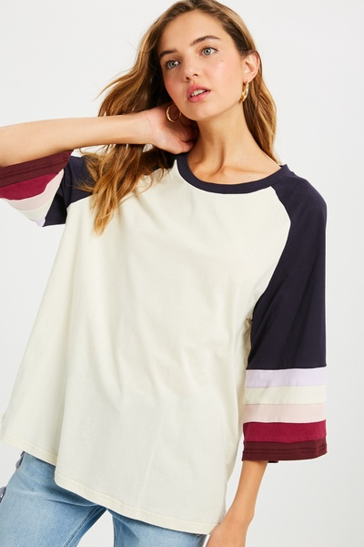 3/4 COLOR BLOCK BELL SLEEVES ROUND NECK TEES