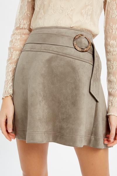 TEXTURED FLARE SKIRT WITH ADJUSTABLE FRONT BELT