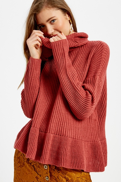 RIB TEXTURED TURTLE NECK PULLOVER SWEATER
