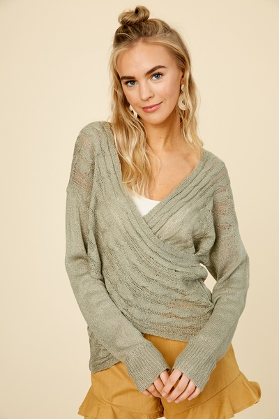 TEXTURED WRAP PULL OVER SWEATER