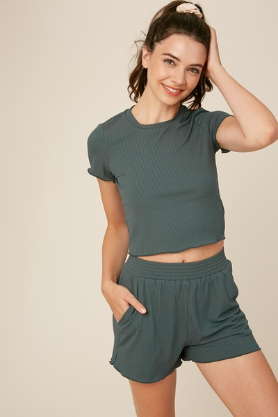 STRETCH RIBBED CROP TOP AND SHORT PANTS LUNGE SETS