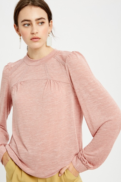 TWO TONE PUFF LONG SLEEVES KNIT TOP