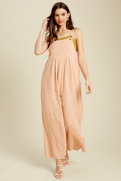 SQUARE NECK LINEN OVERALL JUMPSUIT