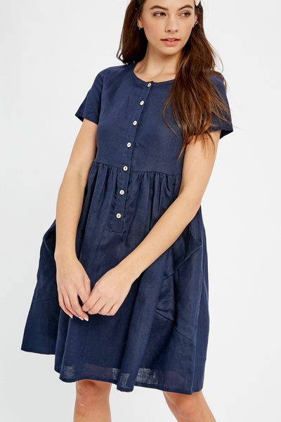 LINEN BABYDOLL DRESS WITH PATCH POCKETS